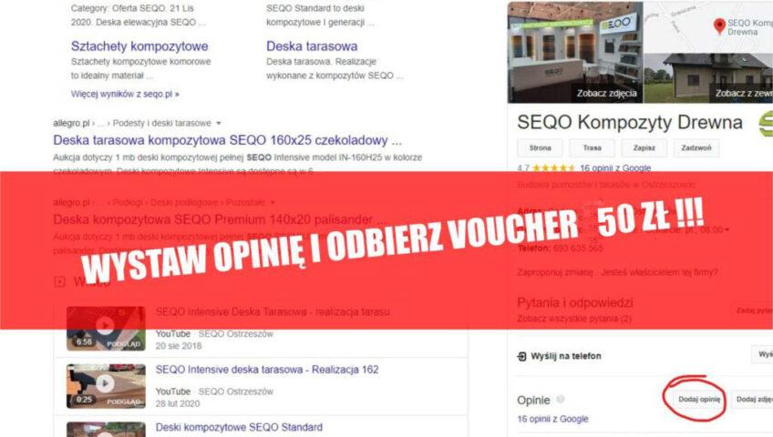 Wystaw opinię i ODBIERZ 50 zł