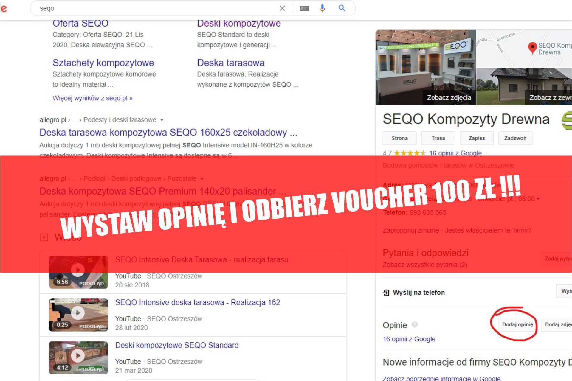 Wystaw opinię i ODBIERZ 100 zł